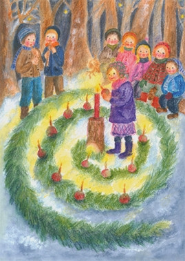 Kunstpostkarte - Adventsgärtlein im Wald