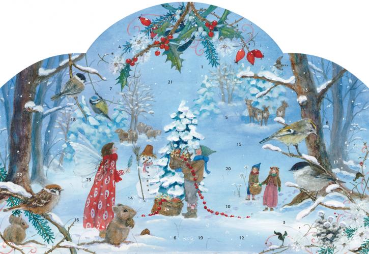 Adventskalender, die kleine Elfe feiert Weihnachten
