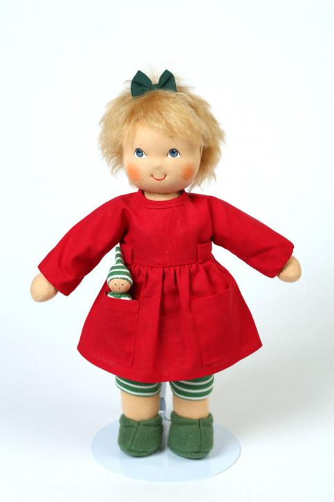 Heidi Hilscher Puppe - Bio Schlenkerpuppe Dida grün - blonde Haare