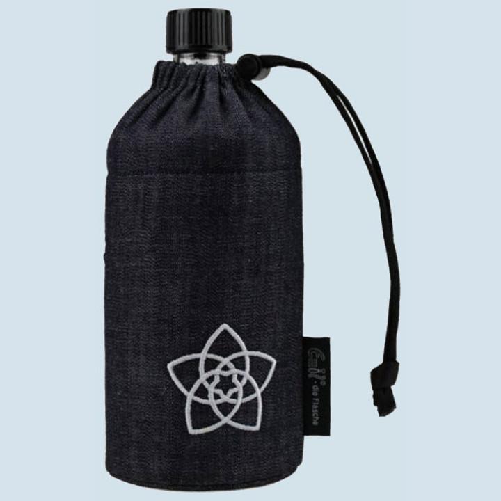 Emil die Flasche - Trinkflasche blau, rote Blume - 0,4 L, Bio Qualität