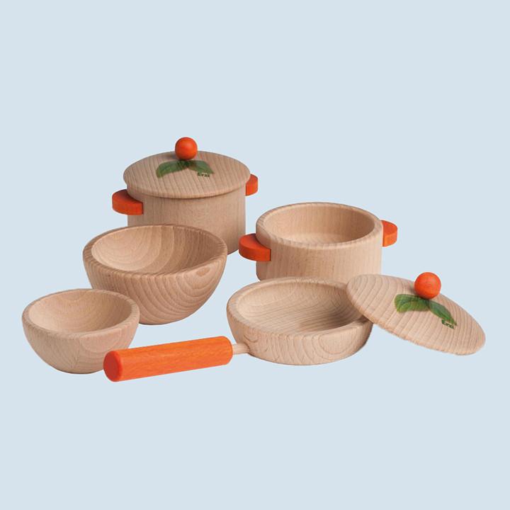 Erzi - cooking set, nature - 5parts - wood