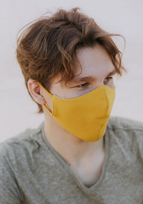 Community mask - face mask - yellow, organic cotton