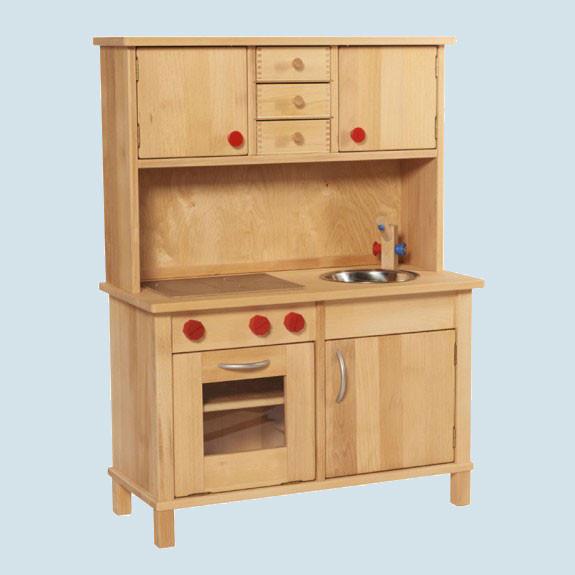 Glückskäfer - Spielküche, Kinderküche mit Oberschrank, Holz