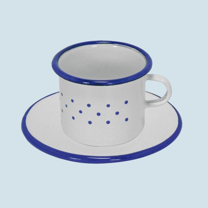 Glückskäfer - Tasse mit Unterteller, Emaille - Zubehör Spielküche