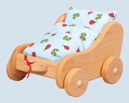 Glückskäfer - Nachziehwagen -  Puppenwagen mit Bettzeug - Holz, Erle