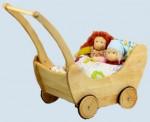Glückskäfer - Puppenwagen aus Holz mit Bettzeug - Erle