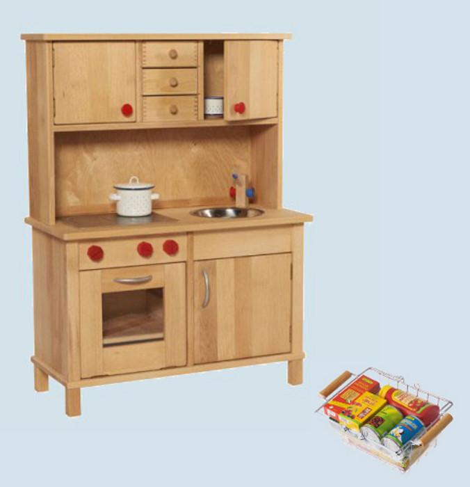 Glückskäfer   Spielküche, Kinderküche Mit Oberschrank, Holz