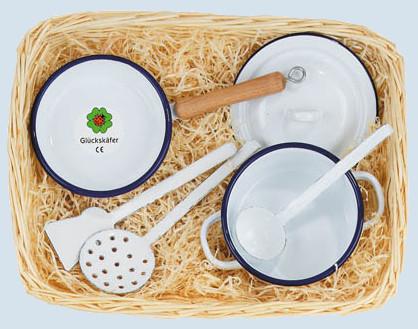 Glückskäfer - Koch Set, Emaille, weiß, Zubehör Spielküche