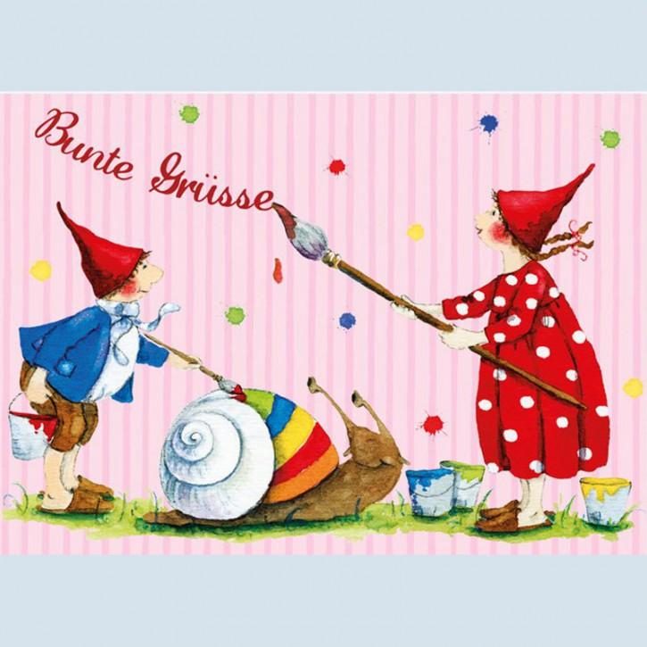 Grätz Verlag - Postkarte - Pippa und Pelle - Bunte Grüße