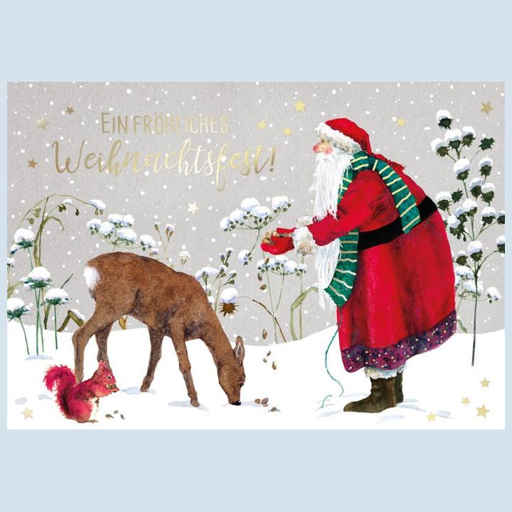 Grätz Verlag - Weihnachtskarte, Doppelkarte - Fütterung mit Weihnachtsmann