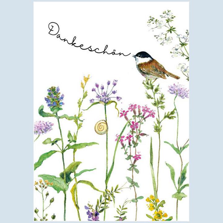 Grätz Verlag - Postkarte, Vogel singt - Dankeschön