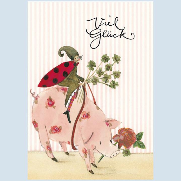 Grätz Verlag - Postkarte zum Wünschen - Glücksschwein