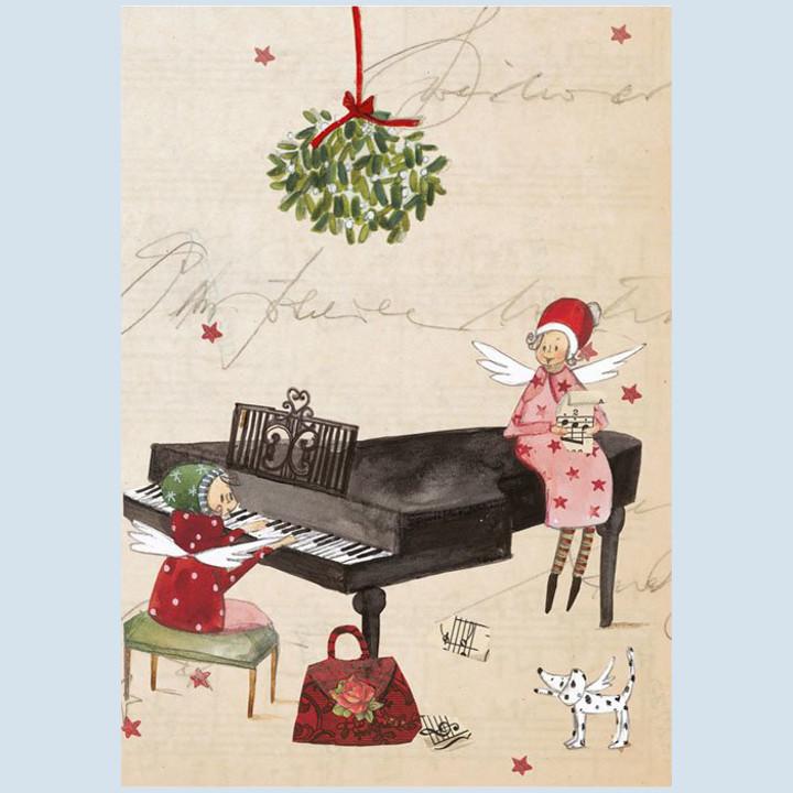 Grätz Verlag - Weihnachtspostkarte - Engel mit Klavier
