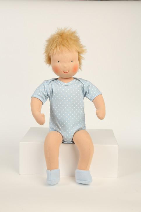 Heidi Hilscher Puppe - Bio Schlenkerpuppe Baby Linus - blonde Haare