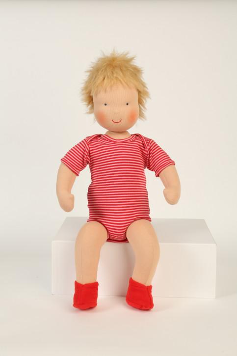 Heidi Hilscher Puppe - Bio Schlenkerpuppe, grosses Baby rot, blond