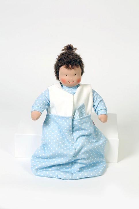 Heidi Hilscher Puppenkleidung - ärmelloser Schlafsack blau - Bio Qualität