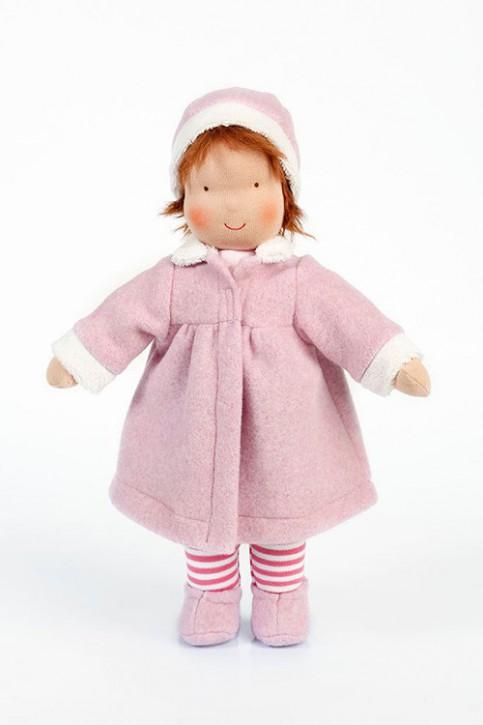 Heidi Hilscher Puppe - Emma, rosa - braune Haare, bio