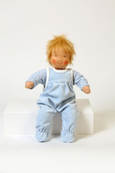 Heidi Hilscher Puppenkleidung - Set Strampler blau - Bio