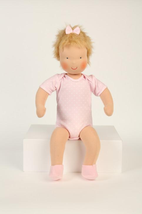 Heidi Hilscher Puppe - Bio Schlenkerpuppe Baby Rosa - blonde Haare