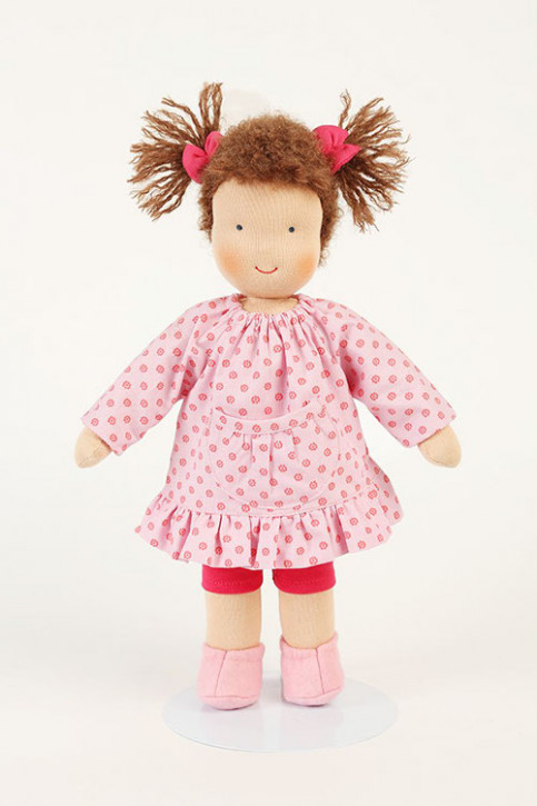 Heidi Hilscher organic doll - Annika, pink - brown hair, eco