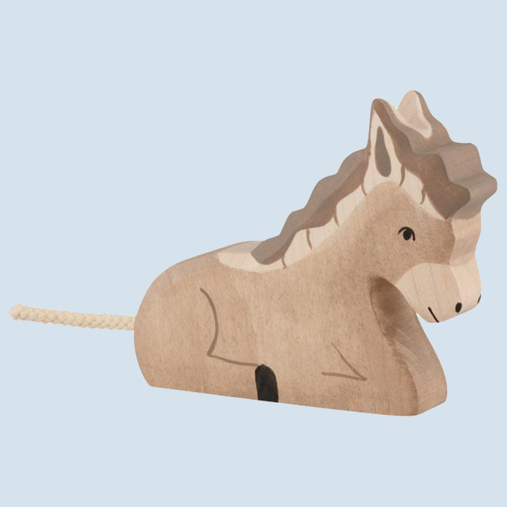 Holztiger - wooden animal - donkey, lying