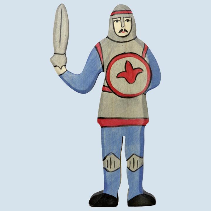 Holztiger - Holzfigur Ritter, blau, kämpfend