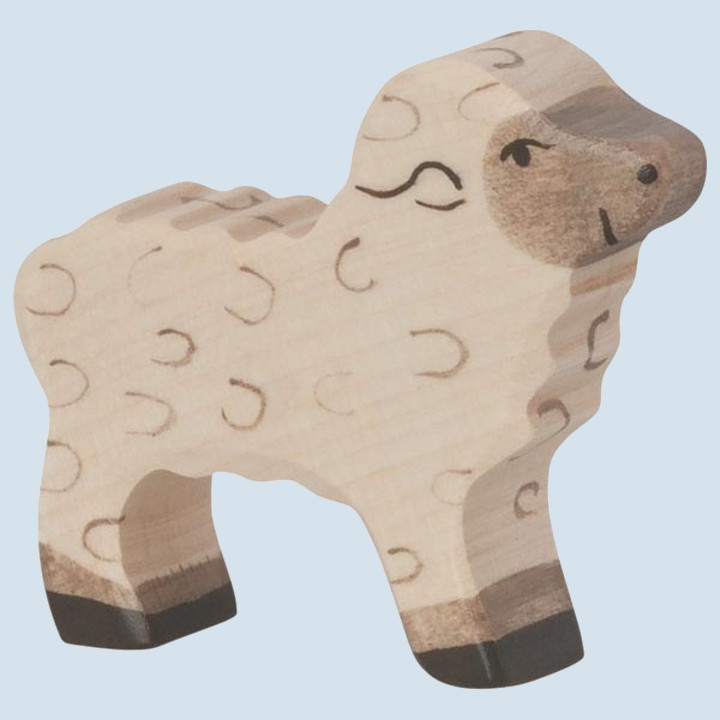 Holztiger - wooden animal - lamb, white