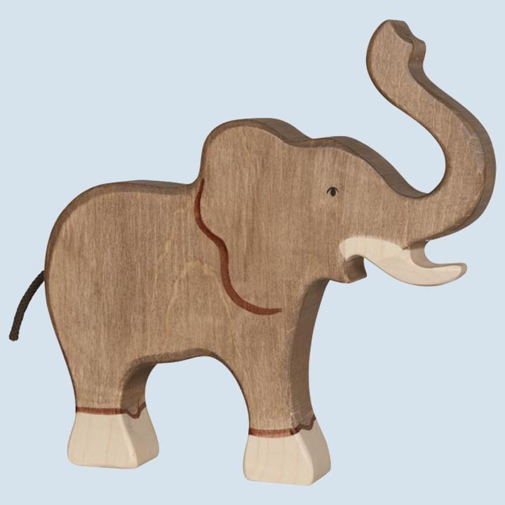 Holztiger - wooden animal - elephant, trunk raised