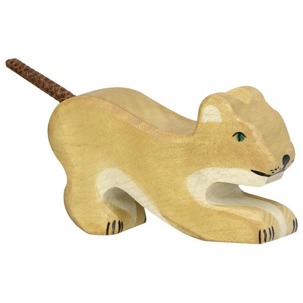 Holztiger - Holztier Löwe, klein, spielend, Holzfigur