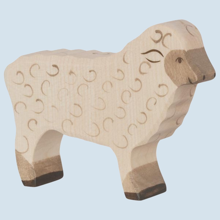 Holztiger - wooden animal - sheep, white