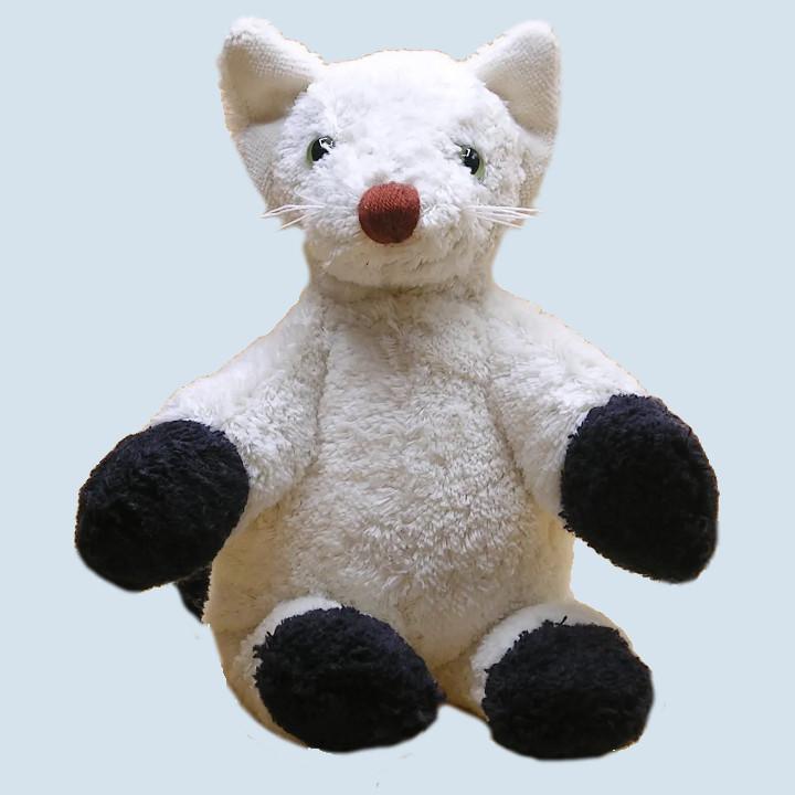 Kallisto Stofftier -  Katze - weiß, schwarz, Bio Baumwolle