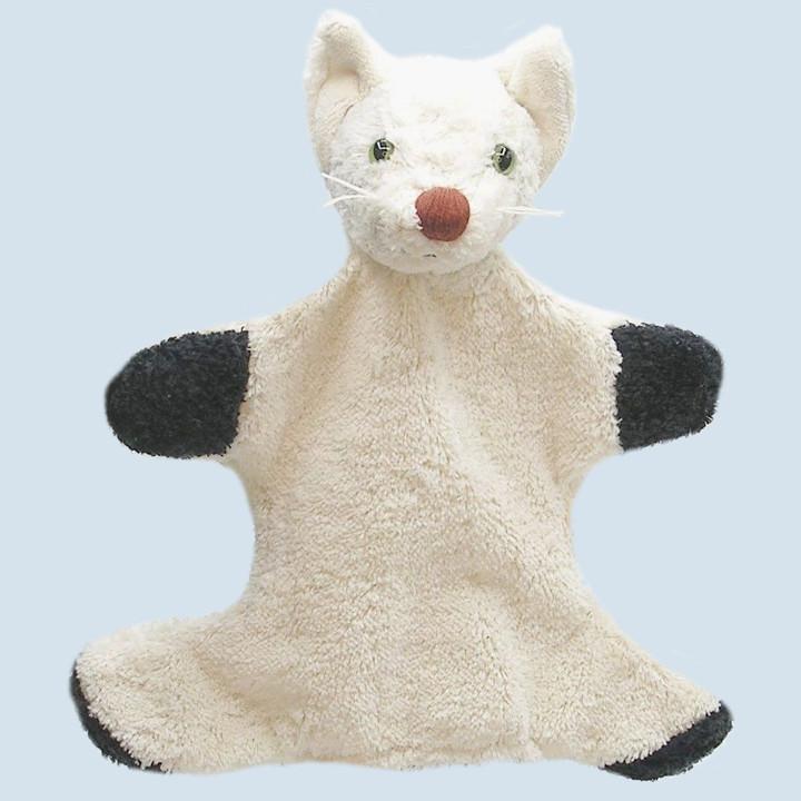 Kallisto hand puppet - cat - white, organic cotton