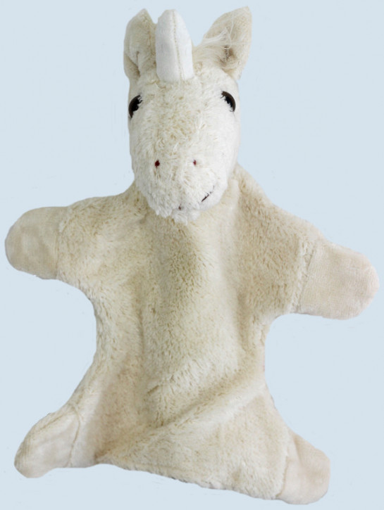 Kallisto Handpuppe - Einhorn - weiß, Bio Baumwolle, öko