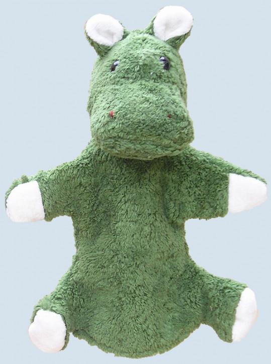 Kallisto hand puppet - Hippo - green, organic cotton, eco