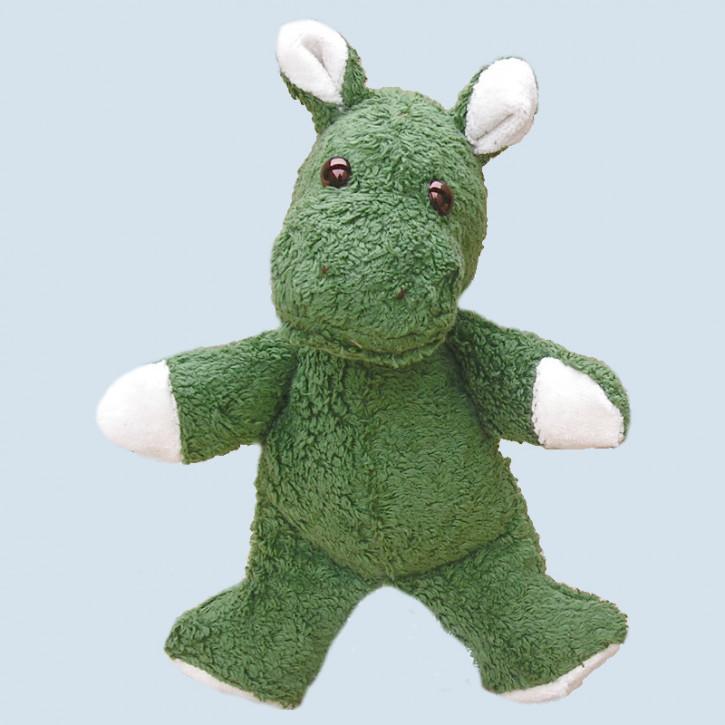 Kallisto Stofftier, Kuscheltier - Nilpferd Knuffel - grün, Bio Baumwolle, vegan