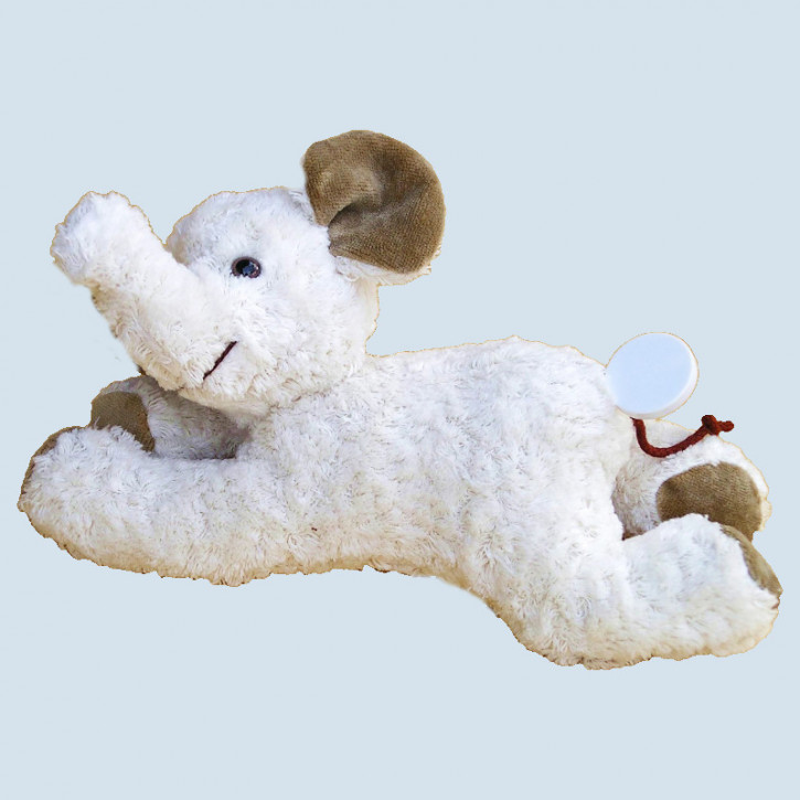 Kallisto music box - lying Elefant - white, organic cotton, eco
