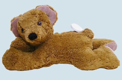 Kallisto music box - lying Bear, Teddy - brown, organic cotton, eco