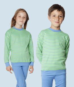 Living Crafts - Kinder Schlafanzug grün blau - Baumwolle, Bio Qualität