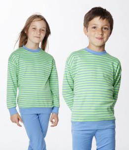 Living Crafts - Kinder Schlafanzug blau grün - Baumwolle bio, 128