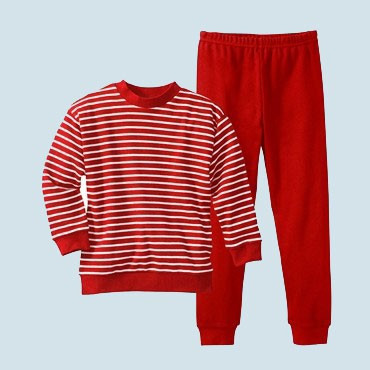 4d63a95265 Living Crafts - Kinderschlafanzug Pyjama rot - Baumwolle, bio, Größe 92