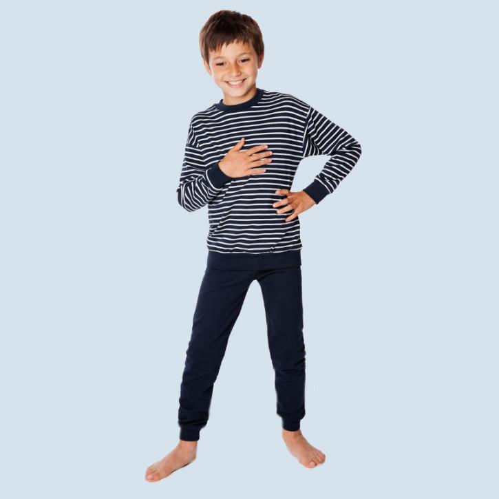 Living Crafts - Kinder Schlafanzug blau - Baumwolle, Bio Qualität