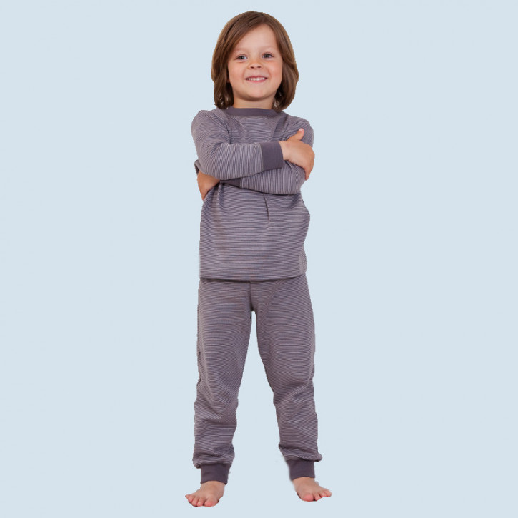 Living Crafts - Kinder Schlafanzug grau gestr., Baumwolle Bio Qualität