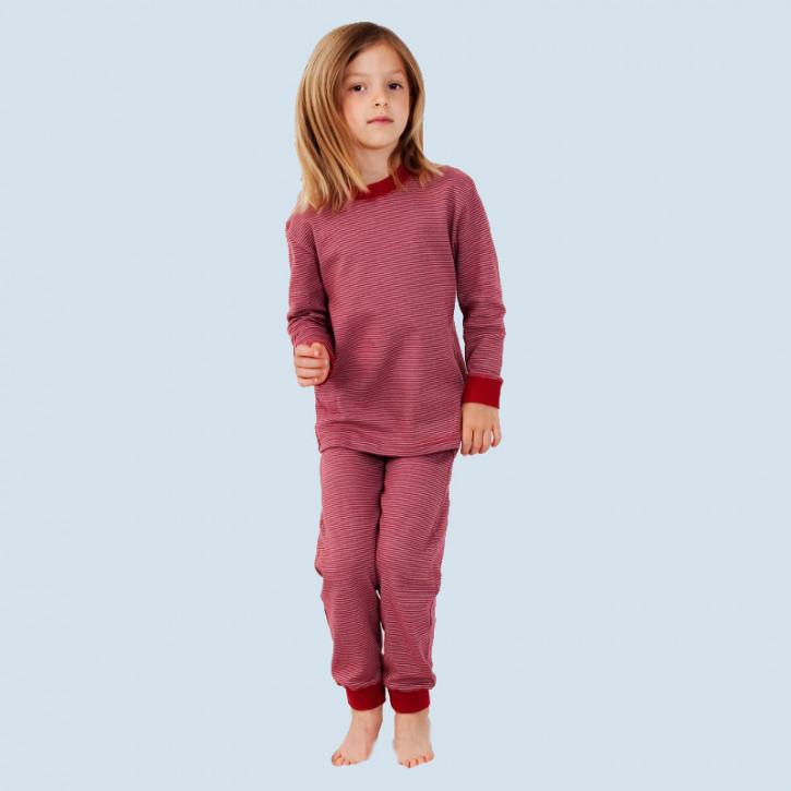 Living Crafts - Kinder Schlafanzug rot gestr. - Baumwolle Bio Qualität