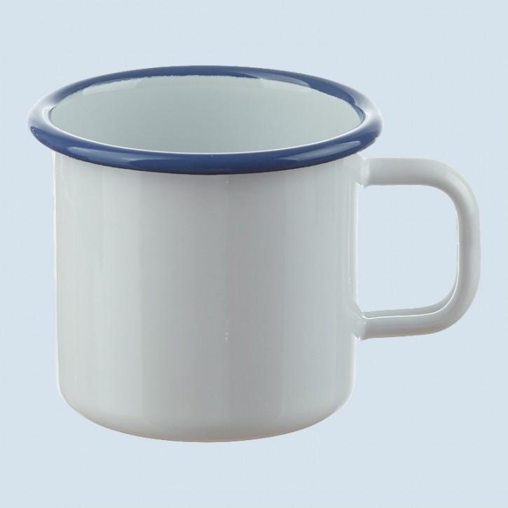 Münder Email - Becher weiß, blau - 8 cm