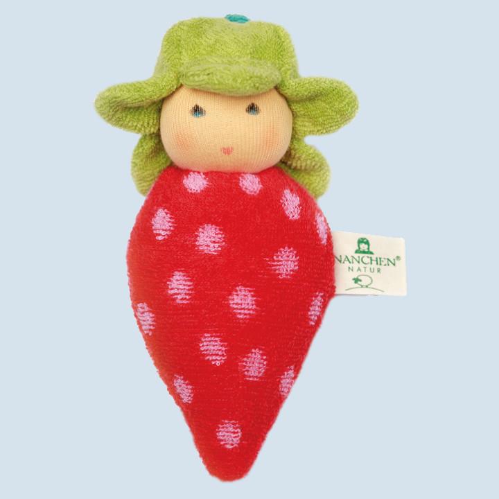 Nanchen Puppe - Erdbeere - rot, Bio Baumwolle, öko