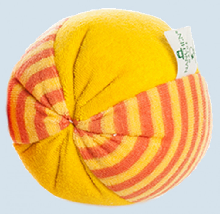 Nanchen - ball for babies with Rattle - orange, big, organic cotton, eco