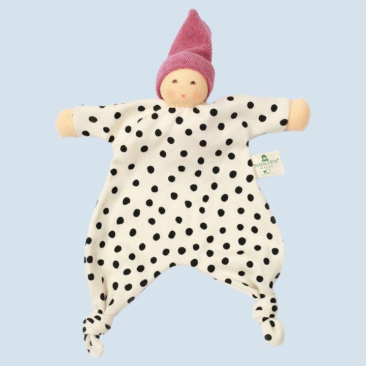 Nanchen eco doll - baby comforter with dots - berry, organic cotton