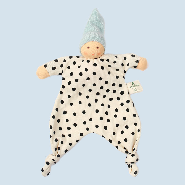 Nanchen eco doll - baby comforter with dots - blue, organic cotton