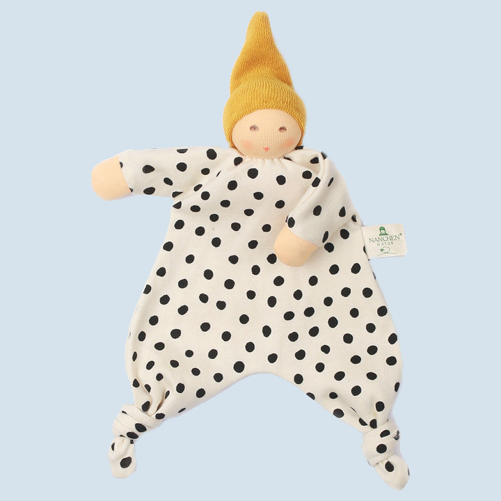 Nanchen eco doll - baby comforter with dots - gold, organic cotton