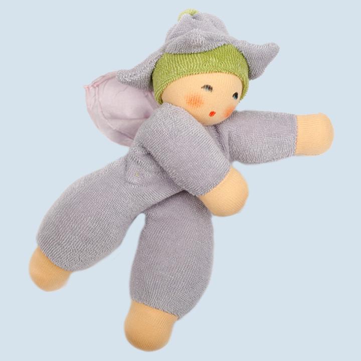 Nanchen Puppe - Blumenfee - flieder, Bio Baumwolle